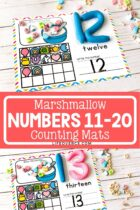 Marshmallow Number Mats Numbers 11-20.