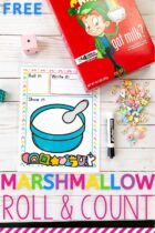 Free Marshmallow Roll and Count Preschool Math Activity