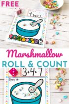 Free Marshmallow Roll and Count Math Activity