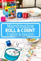 Marshmallow Roll and Count Activity in English and Spanish
