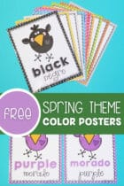 Free Preschool Spring Theme Color Posters