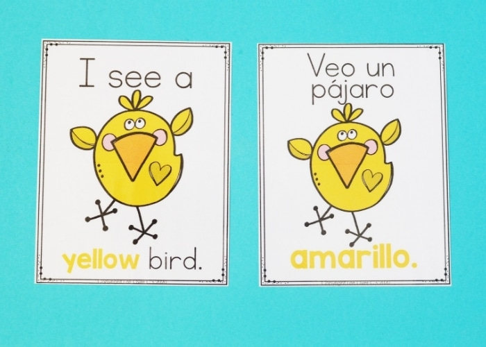 Two spring theme color posters for the color yellow in both English and Spanish.