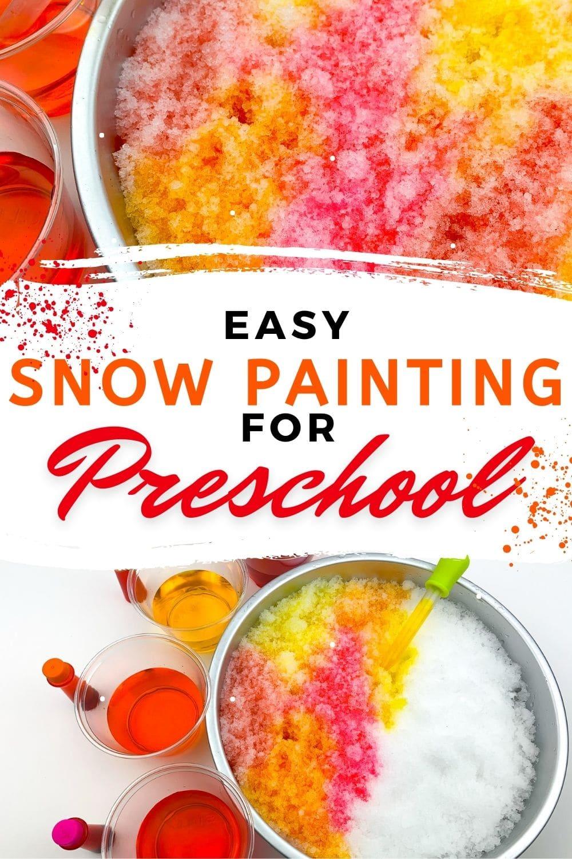 Easy Snow Painting for Preschool