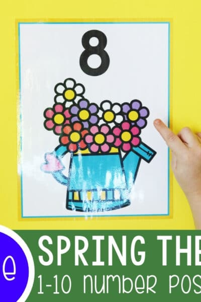 Spring Theme Preschool Number Poster Featured Square Image