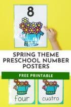 Free Spring Theme Preschool Number Posters Printables