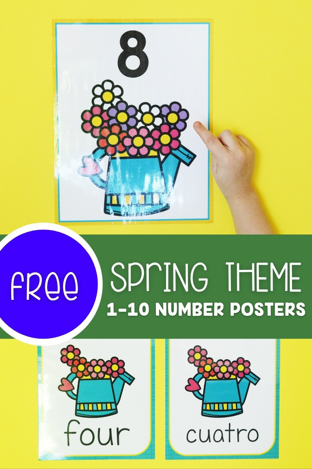 Free Spring Theme 1-10 Number Posters
