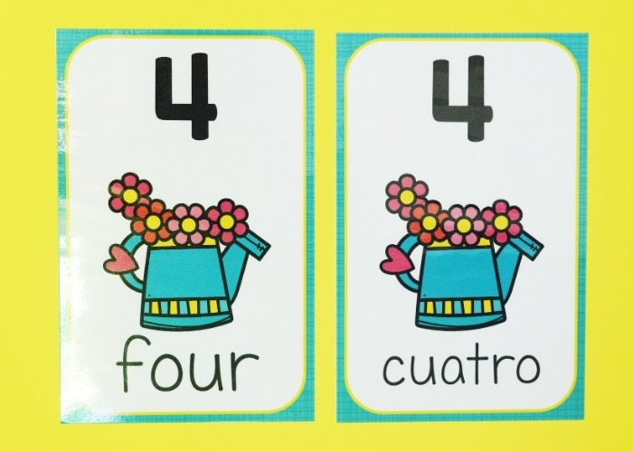 A spring theme number poster for the number 4 in both English and Spanish.