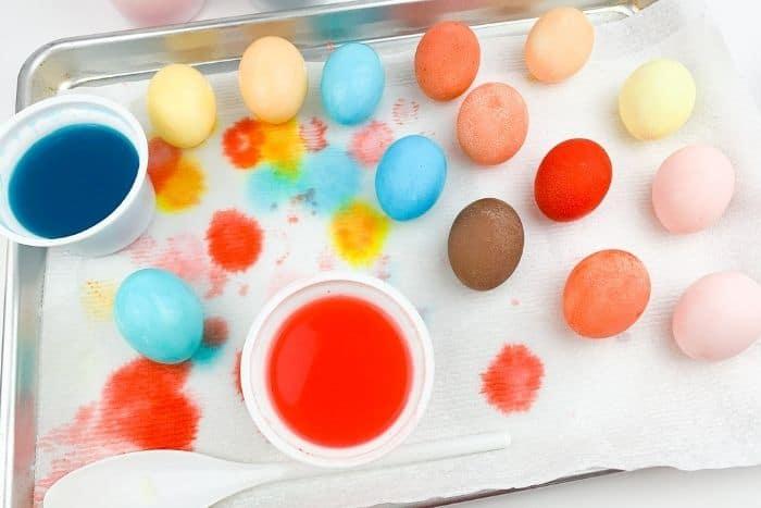 Eggs dyed using Kool-Aid.