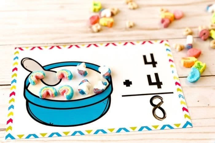 """The free marshmallow addition math mat for the number """"8""""."""