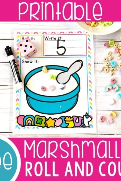 Marshmallow Cereal Roll and Count Math Game for Preschoolers featured square image