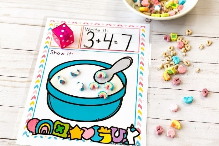 The Marshmallow Cereal Roll and Count Math Game sheet for