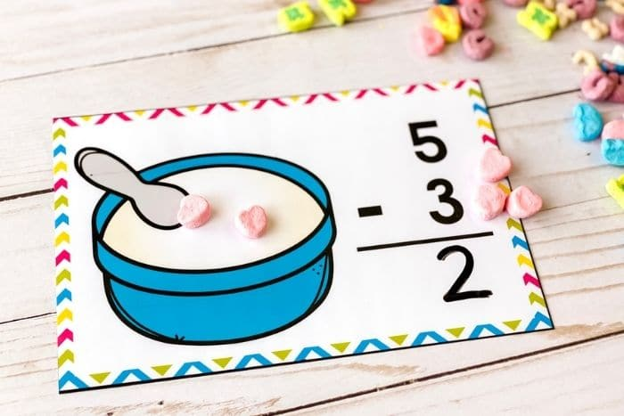 "The free marshmallow subtraction math mat for the number ""2""."
