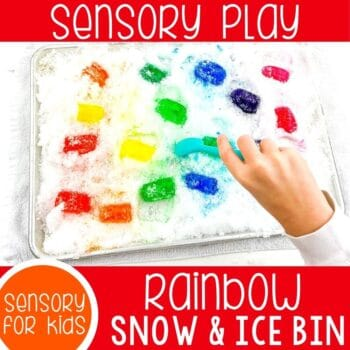 preschool snow and ice cube sensory bin featured square image