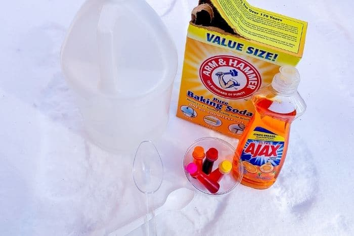The ingredients for the snow volcano winter science activity.