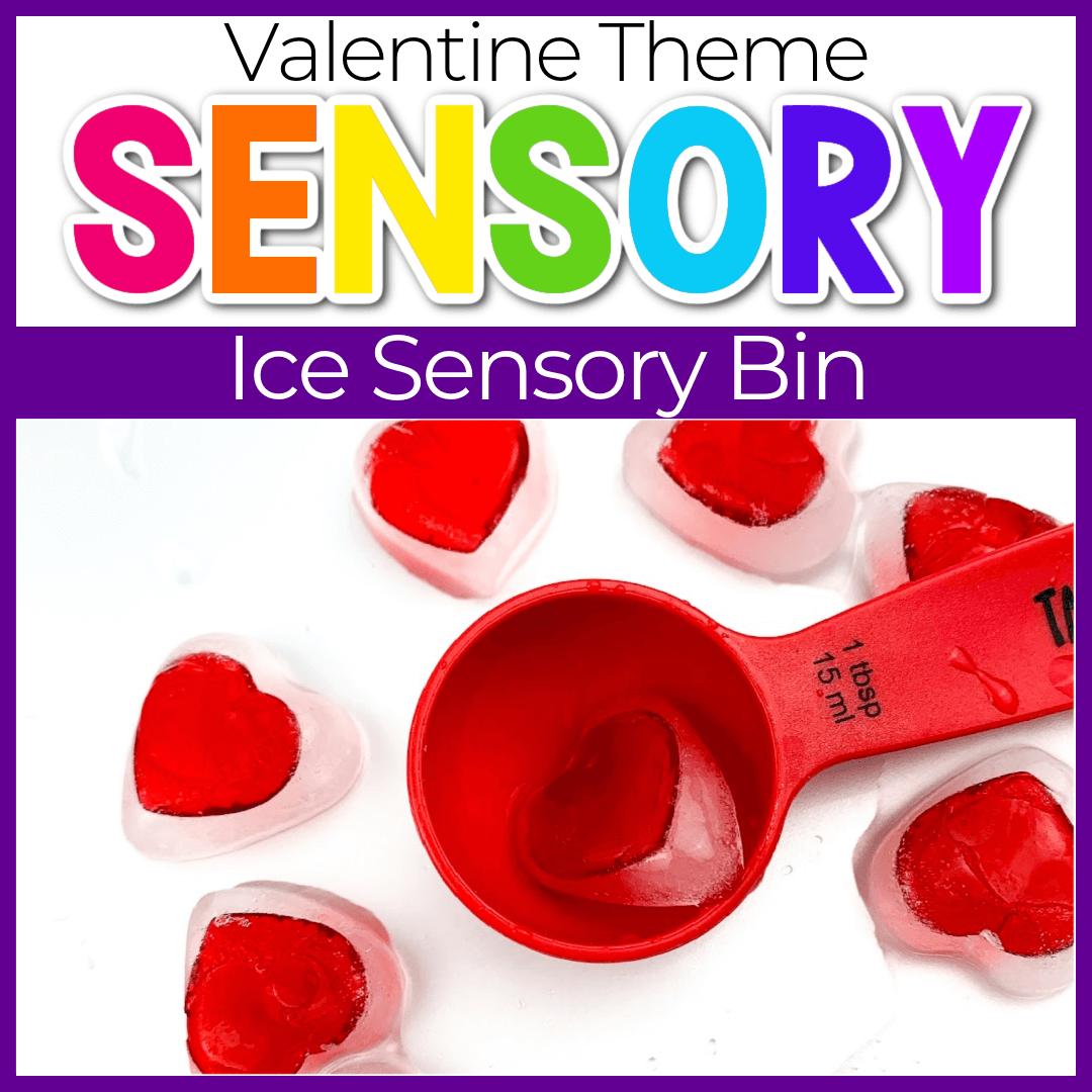 Preschool Valentine's Day Sensory Play with Ice