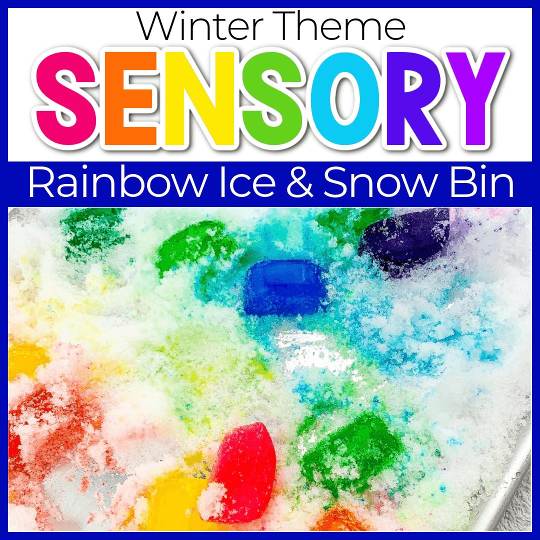 Preschool Snow and Ice Cube Sensory Bin for Winter