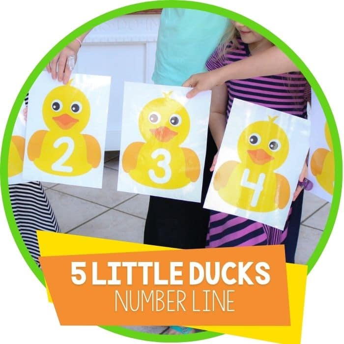 Five Little Ducks Printable Preschool Number Line Activity