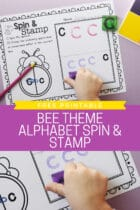 Free Printable Bee Theme Alphabet Spin and Stamp
