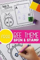 Free Bee Theme Spin and Stamp Activity