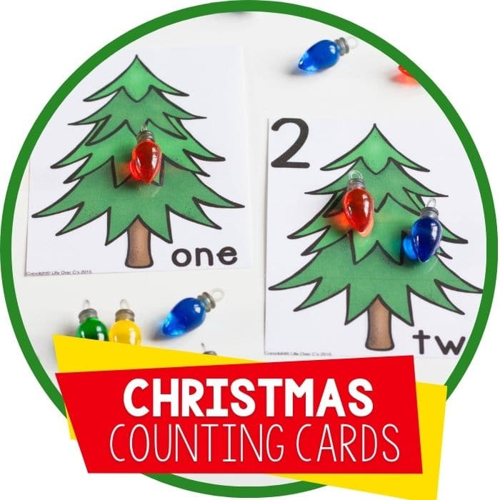 Christmas Lights Counting Cards Numbers 1-10