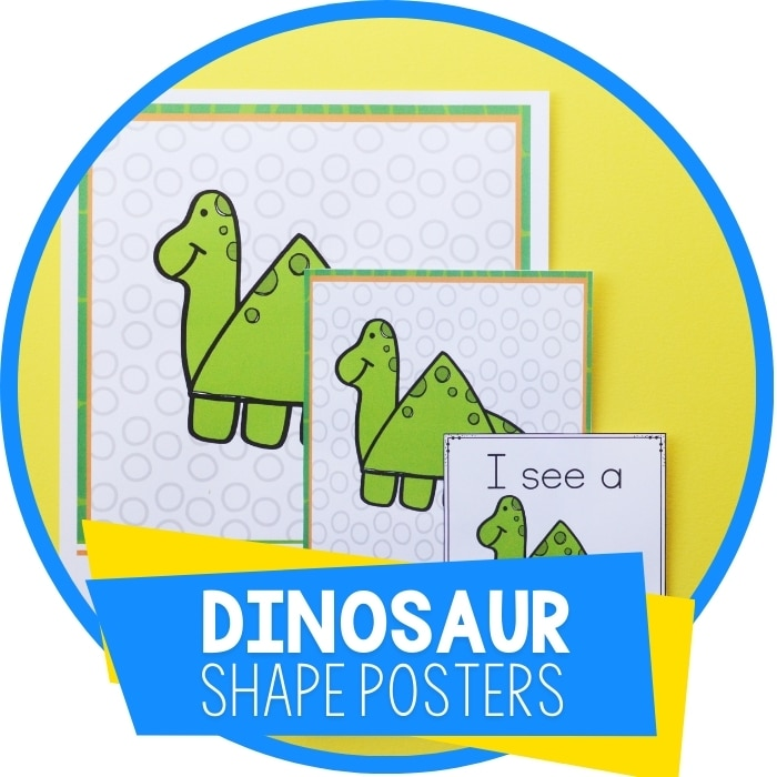 Dinosaur Free Printable 2D Shape Posters and I Spy Shape Hunt