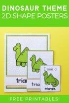 Free Printable Dinosaur Theme 2D Shape Posters