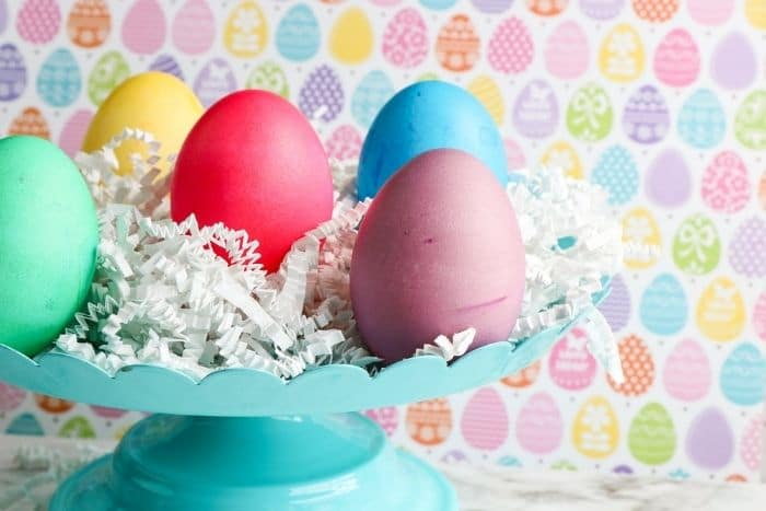 The finished food coloring and vinegar dyed Easter eggs.