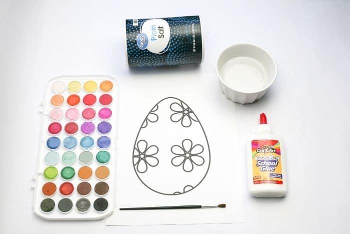 Easter egg salt painting supplies watercolors, salt, glue