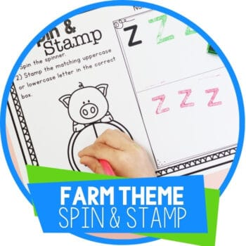 Farm Theme Preschool Spin & Stamp Alphabet Activity Featured Image