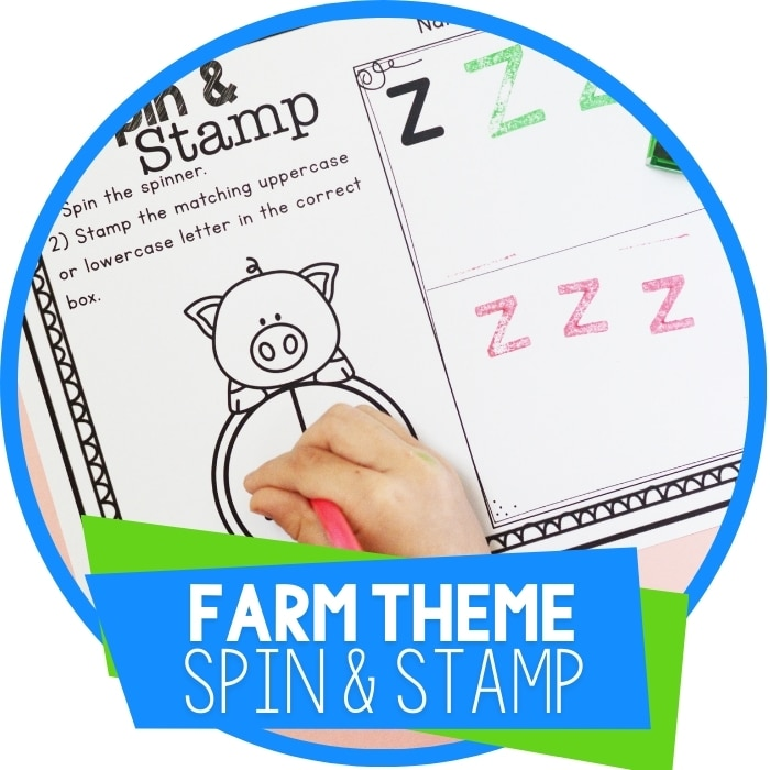 Farm Theme Preschool Alphabet Activity: Spin & Stamp