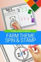 Free Printable Farm Theme Spin and Stamp Alphabet Activity