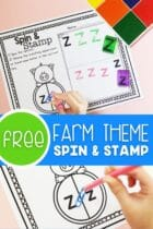 Free Farm Theme Spin and Stamp for Preschoolers