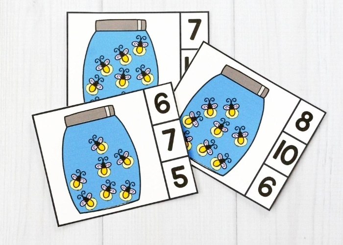 Close up of the firefly counting clip cards printables.