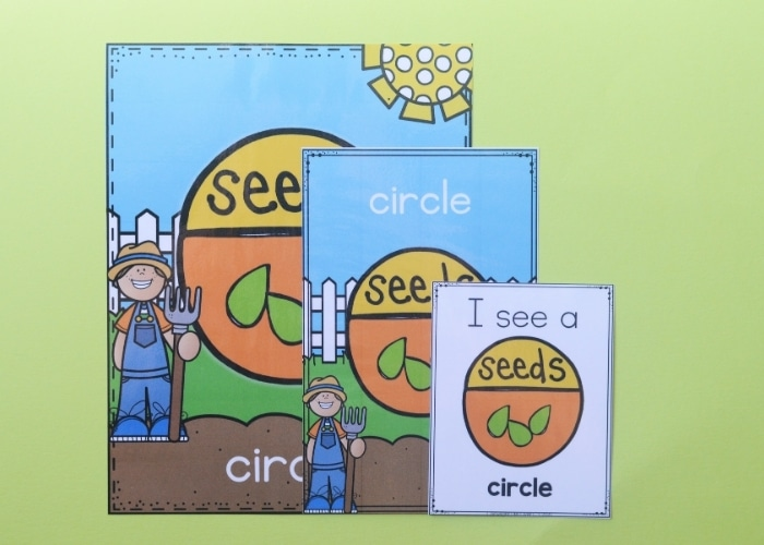 Close up of the cutout circle garden theme shape posters.