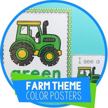 Preschool Farm Animals Color Posters and I Spy Color Game Featured Image