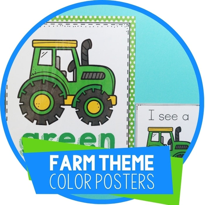 Preschool Farm Animals Color Posters and I Spy Color Game