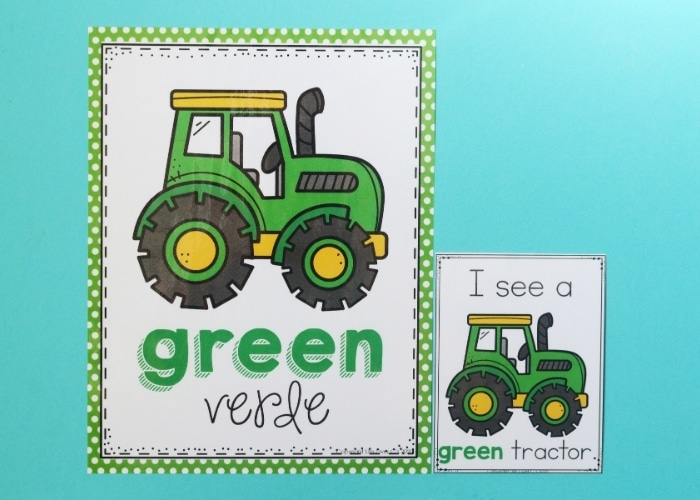 A farm theme color poster with a tractor on it for the color green.