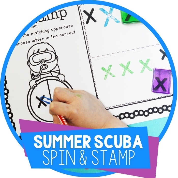 Ocean Theme Letter Recognition Activities: Spin and Stamp