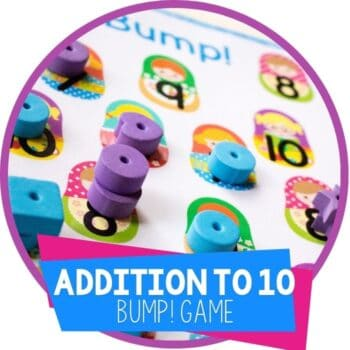 addition to 10 bump game for kindergarten math featured image