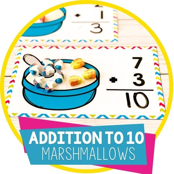 Free Marshmallow Addition Math Mats for Kindergarten