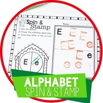 alphabet spin and stamp Christmas theme alphabet activity for preschool Featured Image