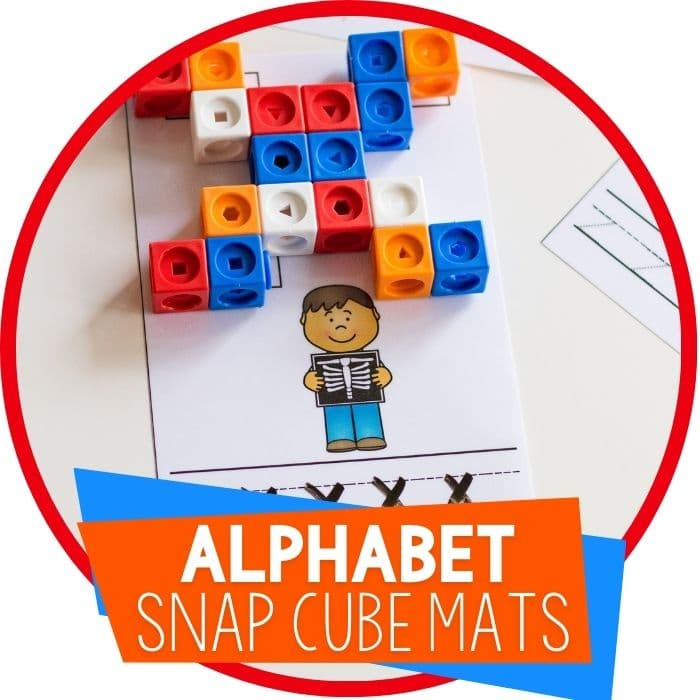alphabet snap cube letter building mats for preschool