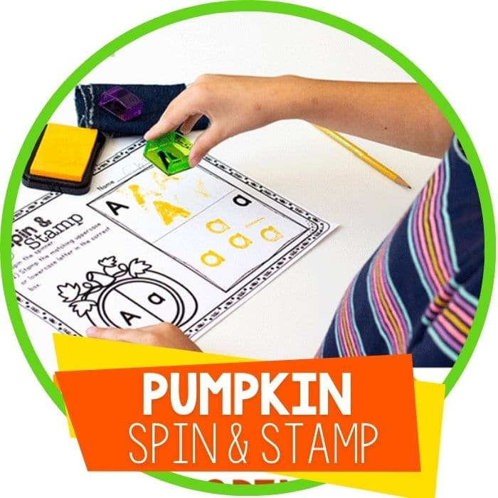 Free Printable Pumpkin Letter Recognition Spin & Stamp Activity