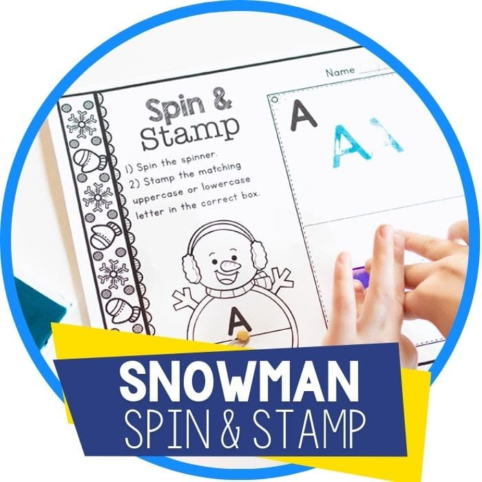 alphabet spin and stamp snowman winter theme alphabet activity Featured Image