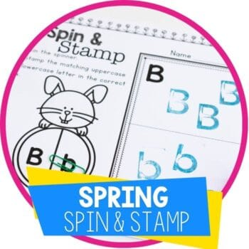 alphabet spin and stamp spring themed alphabet activity for preschool literacy centers Featured Image