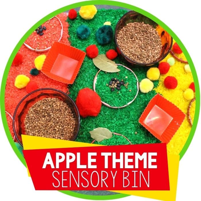 apple theme sensory bin Featured Image