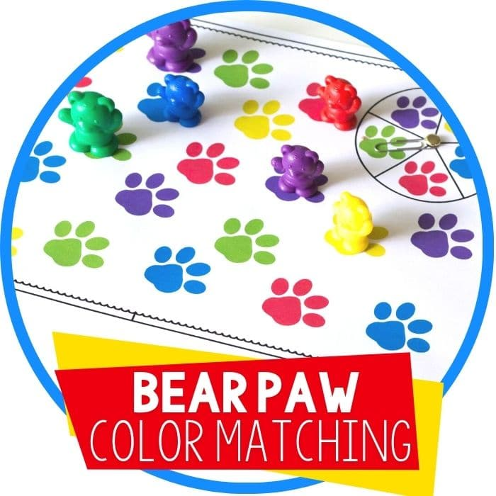 bear paw colors matching game spinner featured image