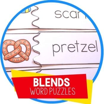 beginning blends word and picture matching puzzles