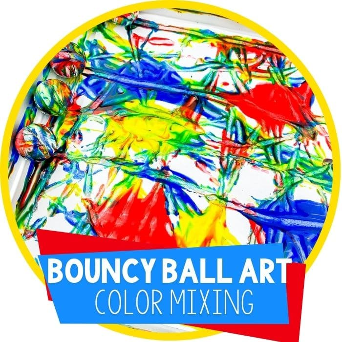 Color Mixing Preschool Bouncy Ball Process Art