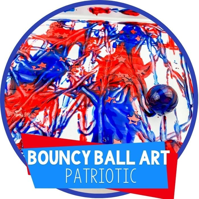 4th of July Bouncy Ball Process Art for Preschoolers